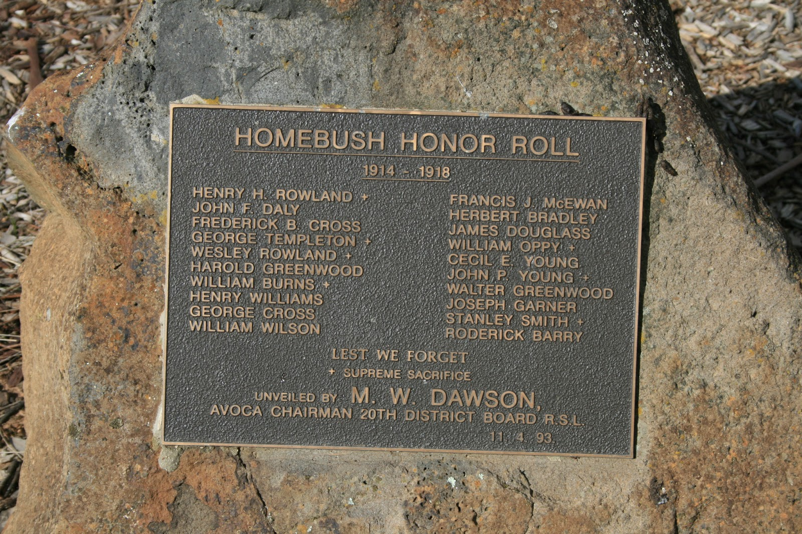 The Plaque At Avenue Of Honour Lower Homebush School