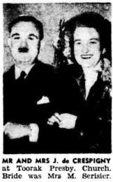 From SATURDAY WEDDINGS IN TOWN AND COUNTRY CENTRES. (1947, June 9). The Argus (Melbourne, Vic. : 1848 – 1957), p. 8. Retrieved August 29, 2013, from http://nla.gov.au/nla.news-article22431673