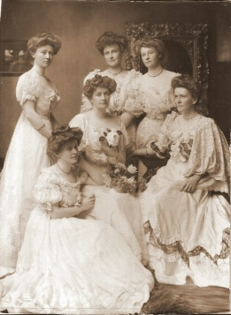 My grandmother wrote on the back of the photograph that it was taken in 1908 and the names: Back row, left to right: Queenie Magee; Kate Cudmore; Nellie Millet Middle row, L to R: Eva Gedge; May Gillett Front centre: Kiddie Bennett