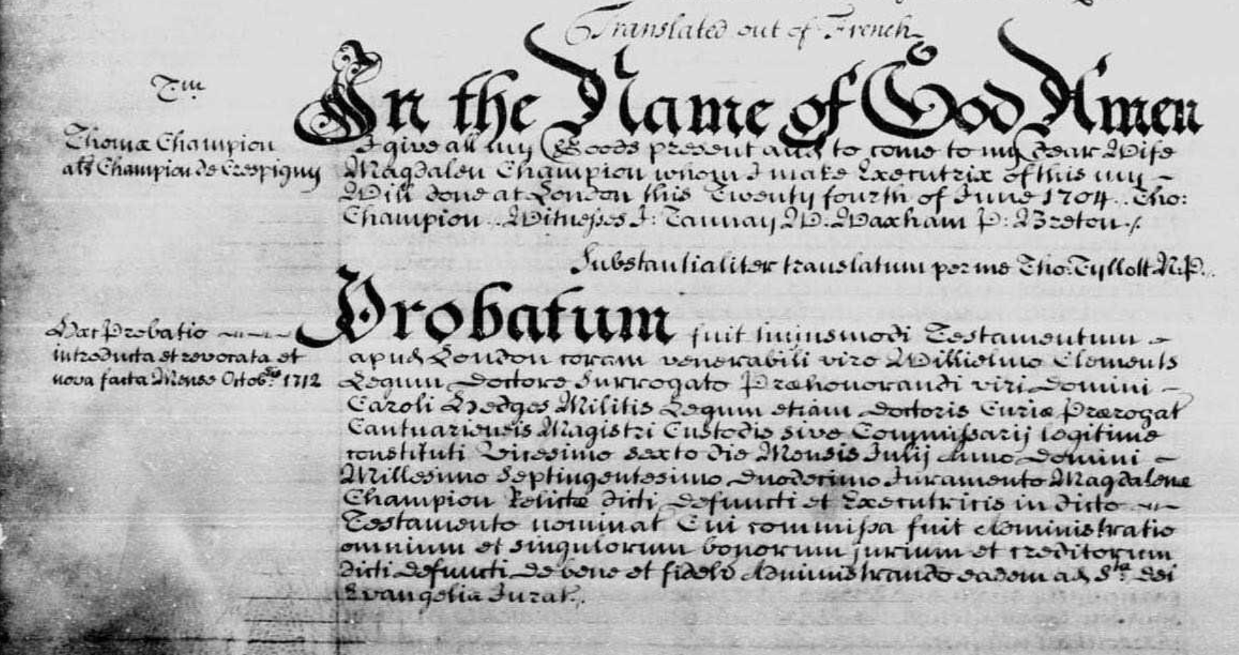 Will of Thomas Champion de Crespigny 1704