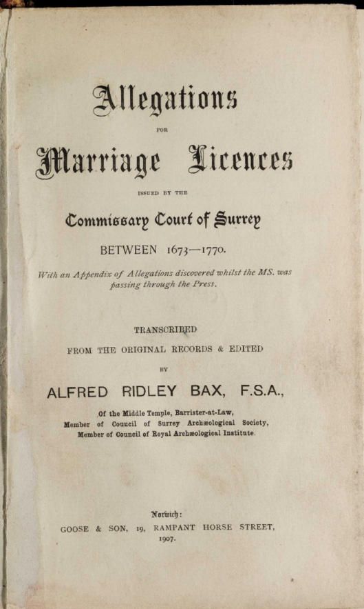 Surrey marriage licences title