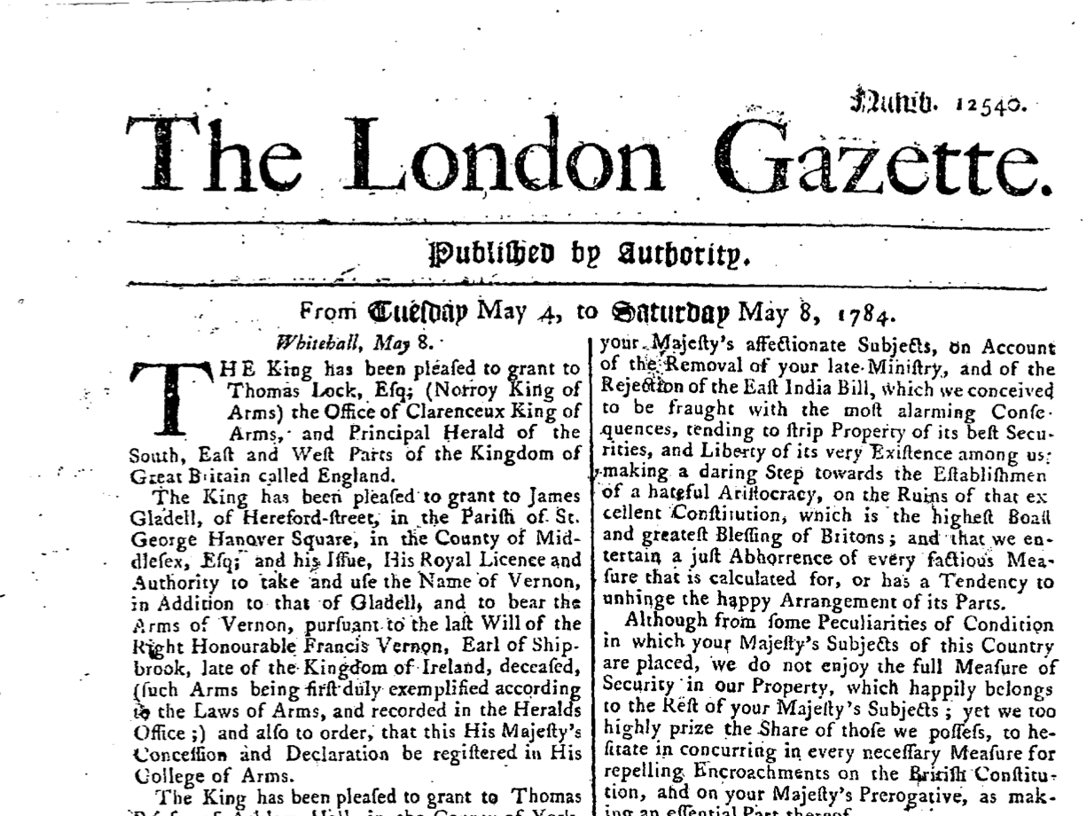 London Gazette 1784 May 4