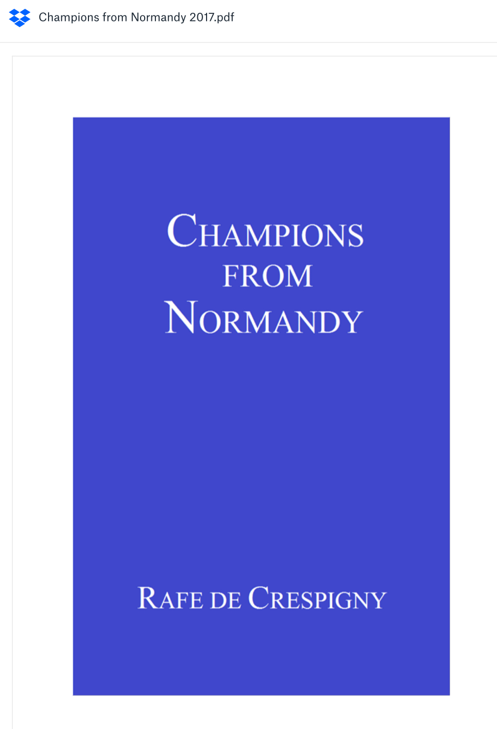 Champions from Normandy at DropboxA PDF version of Champions from Normandy can be downloaded from Dropbox