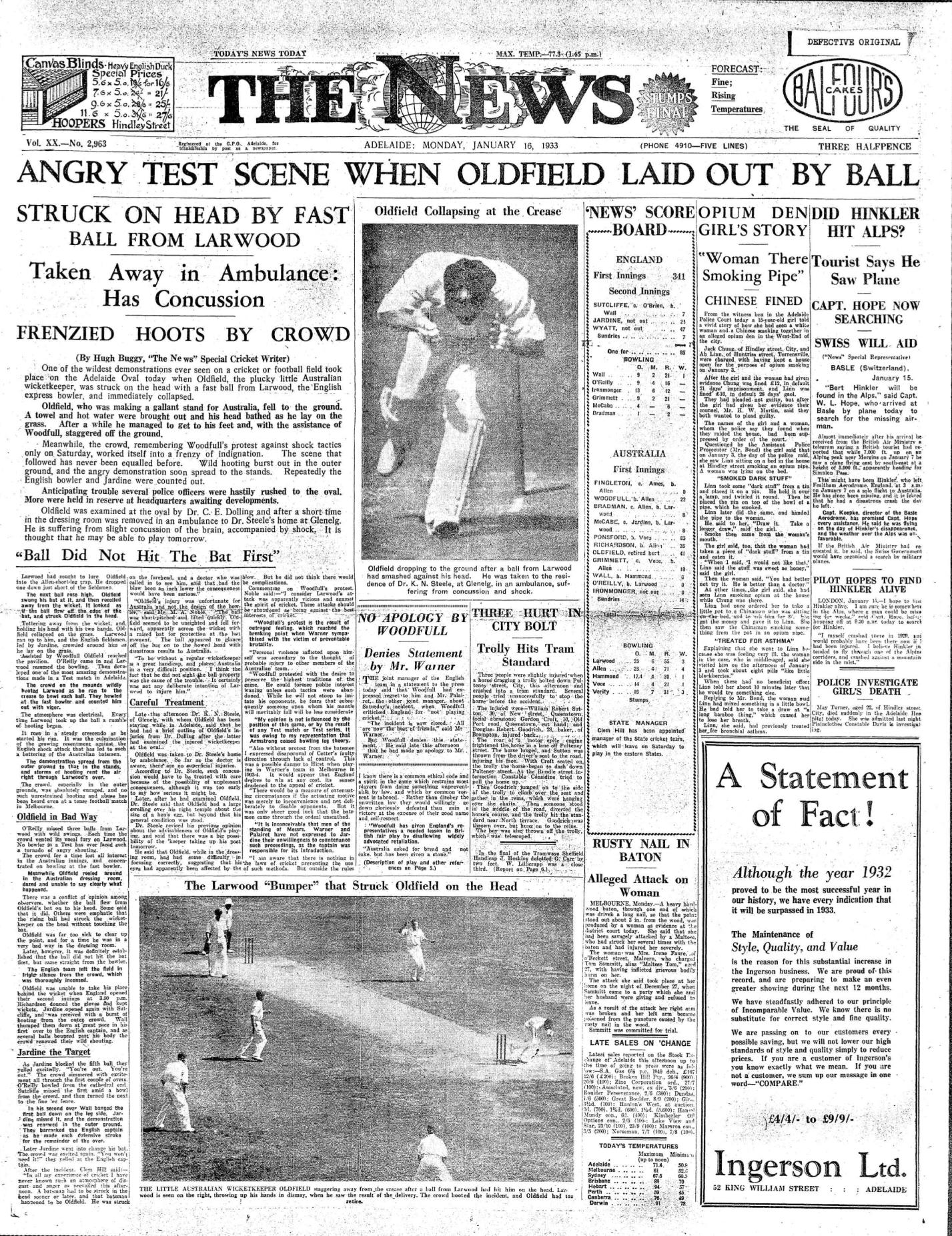 News Bodyline 16 Jan 1933