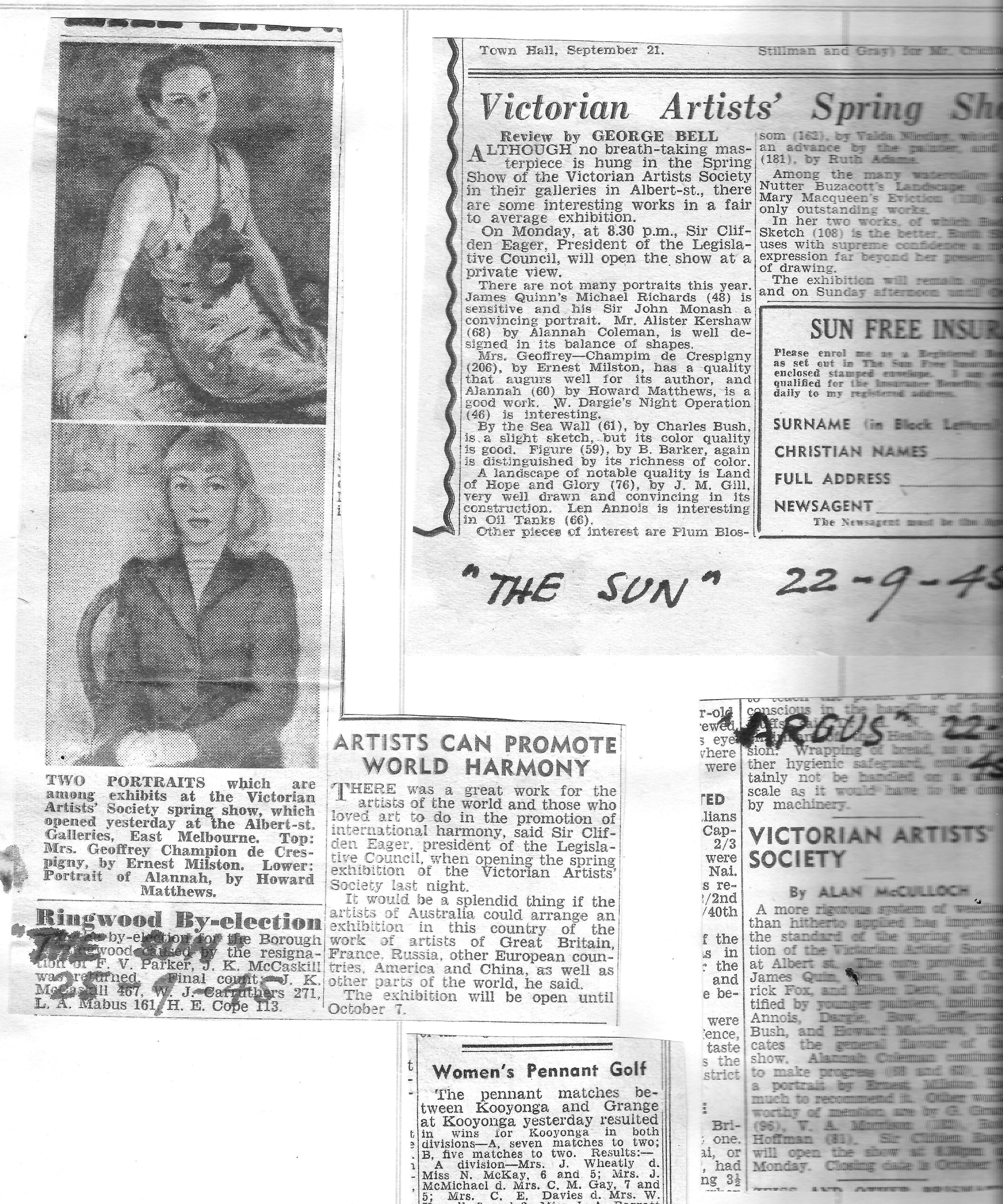 Newspaper clippings Kathleen Sept 1945 - 1