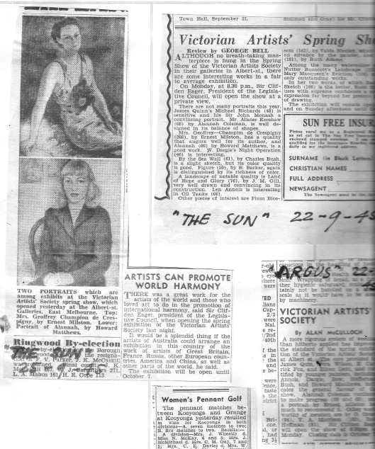 Newspaper clippings Kathleen Sept 1945 - 1