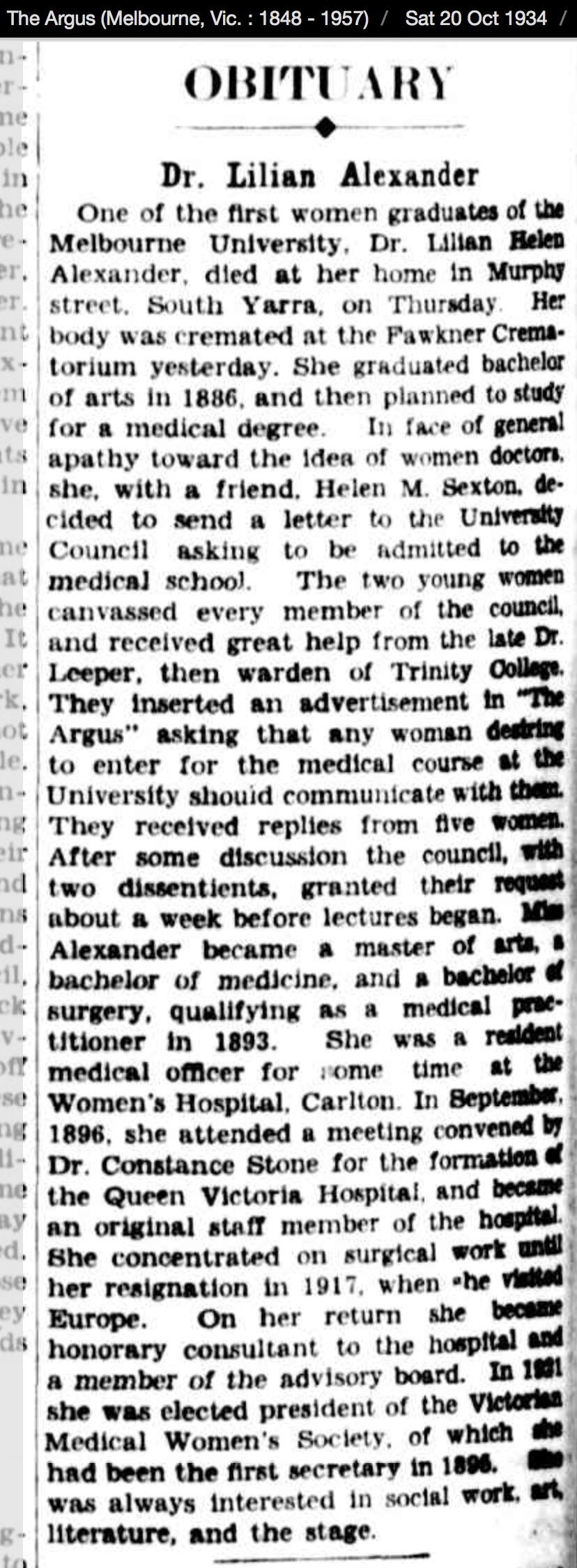 Alexander Lilian obituary Argus 1934 10 20
