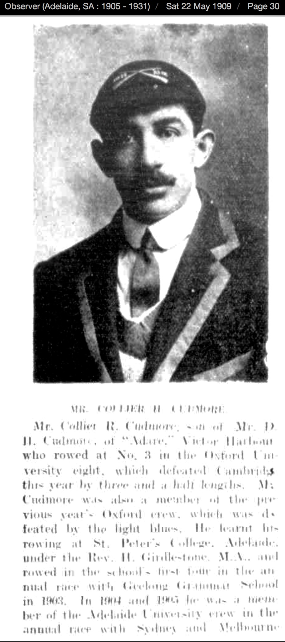 Collier Cudmore Adelaide Observer May 1909