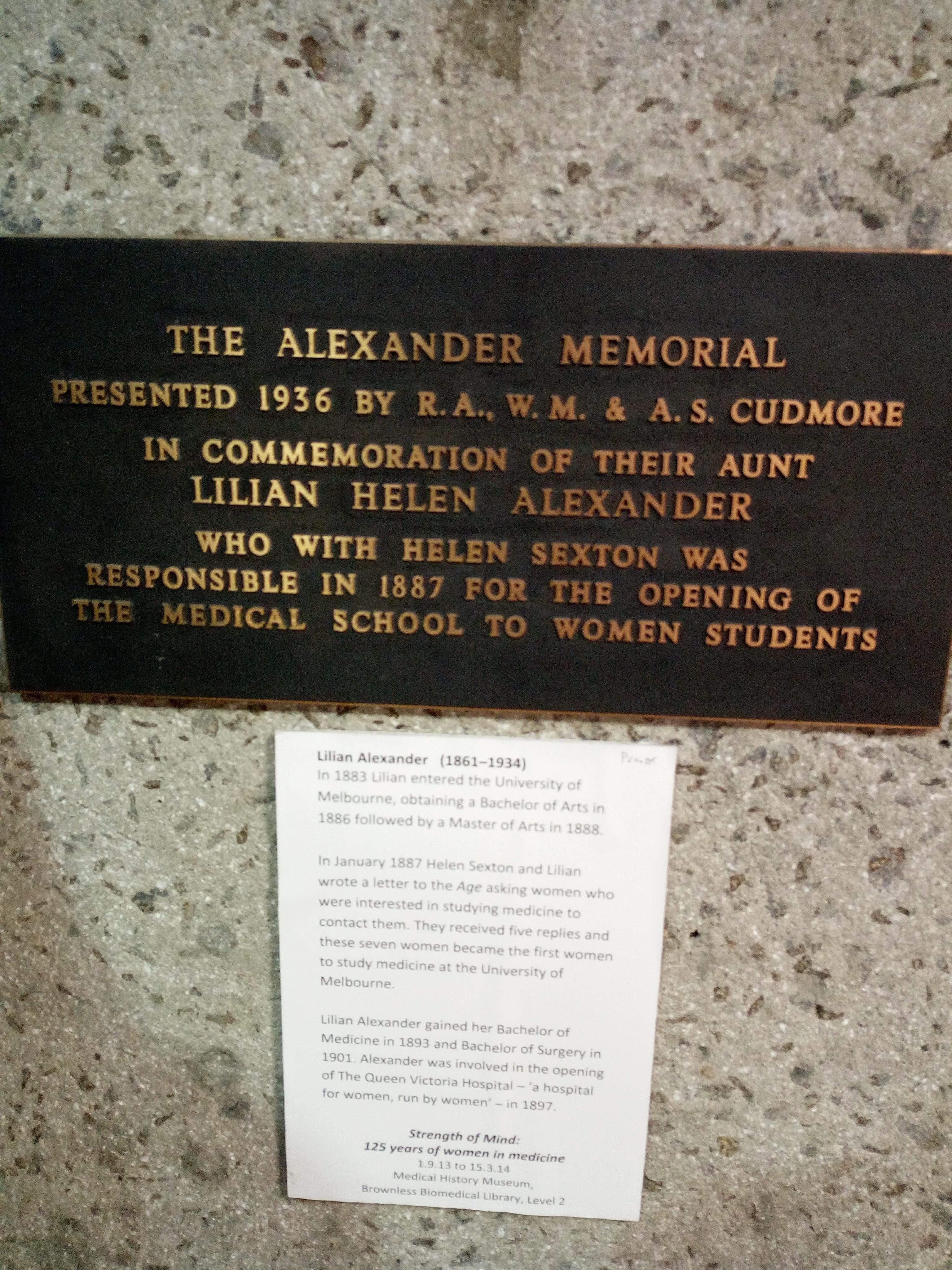 Alexander memorial plaque
