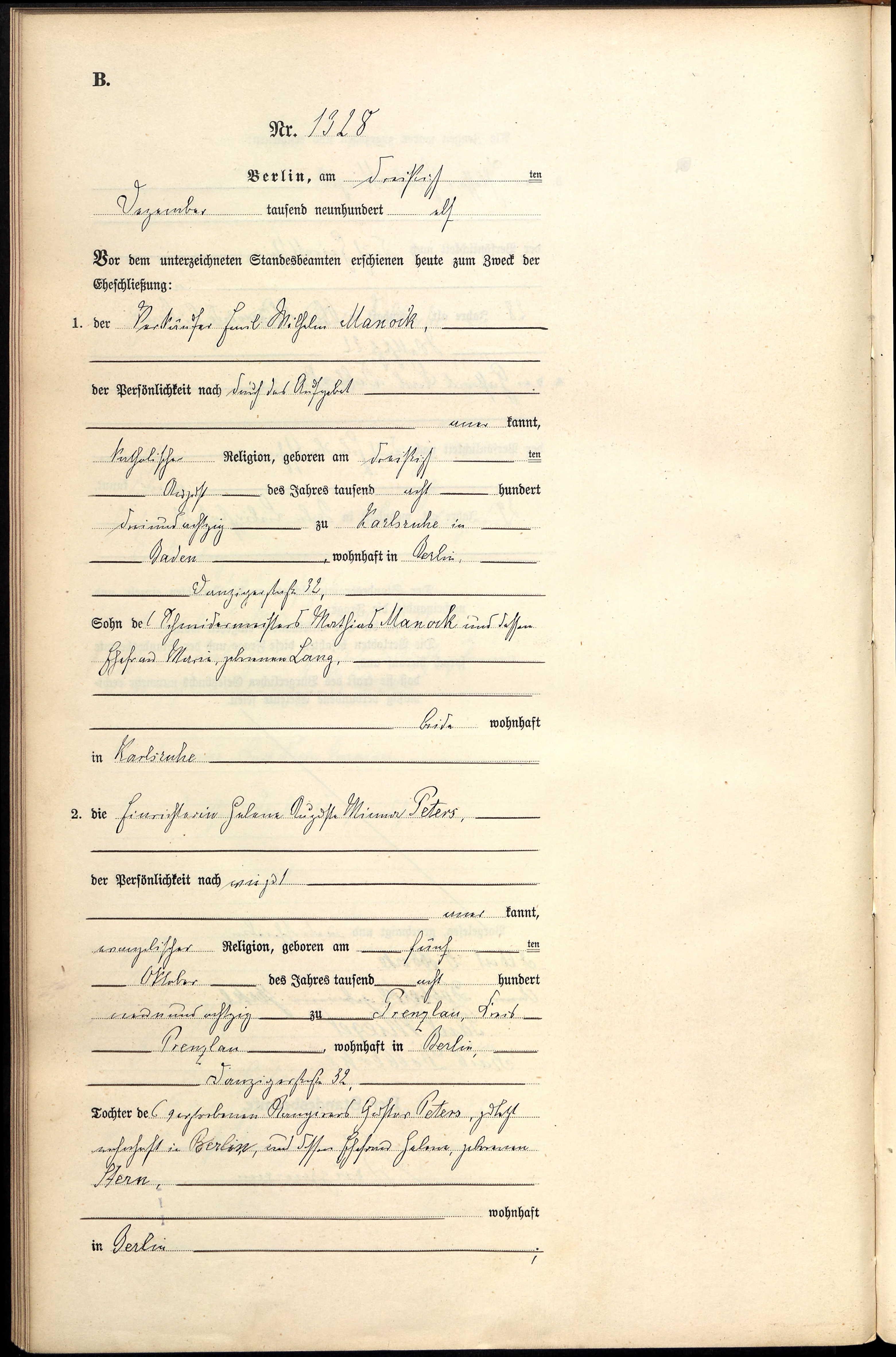 Manock Peters marriage 1911
