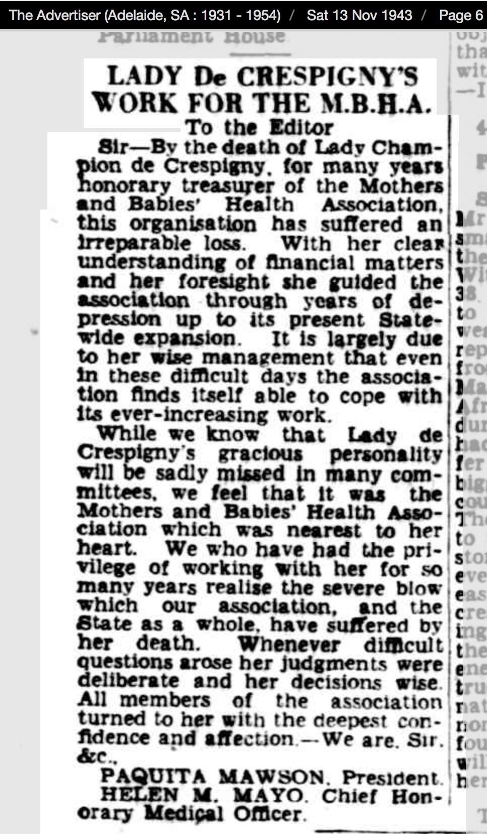 MBHA letter The Advertiser 13 Nov 1943