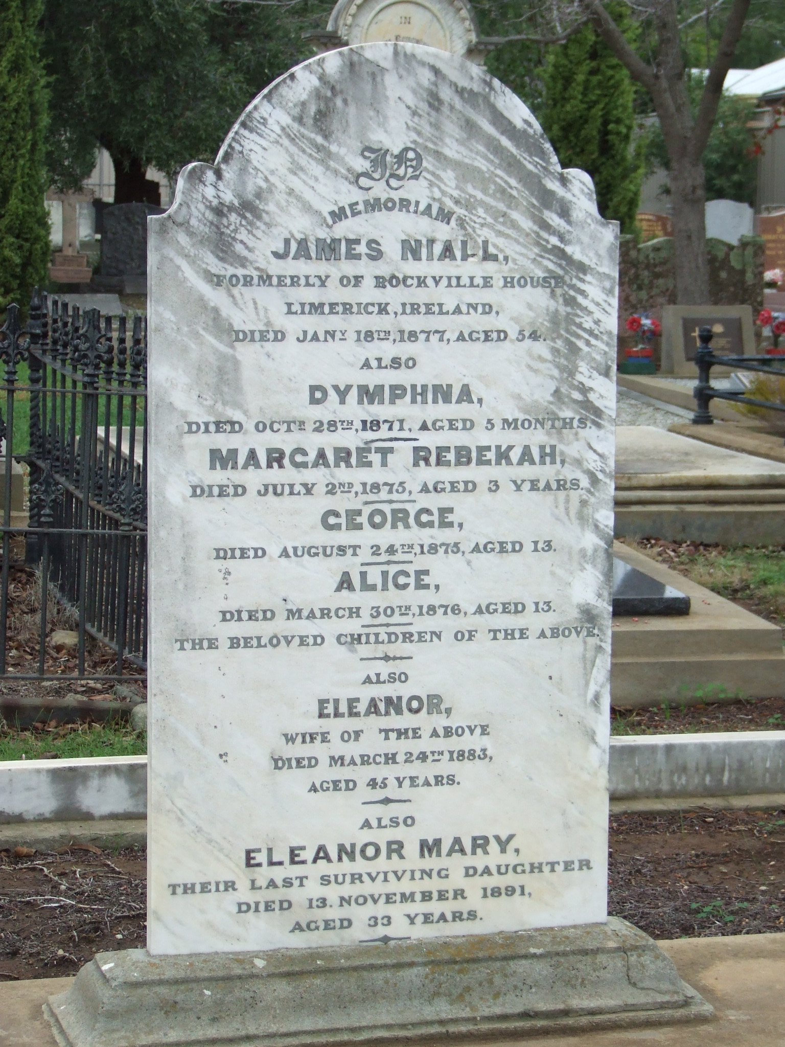 NIALL, James & Dymphna & Margaret Rebekah & George & Alice & Eleanor & Eleanor Mary