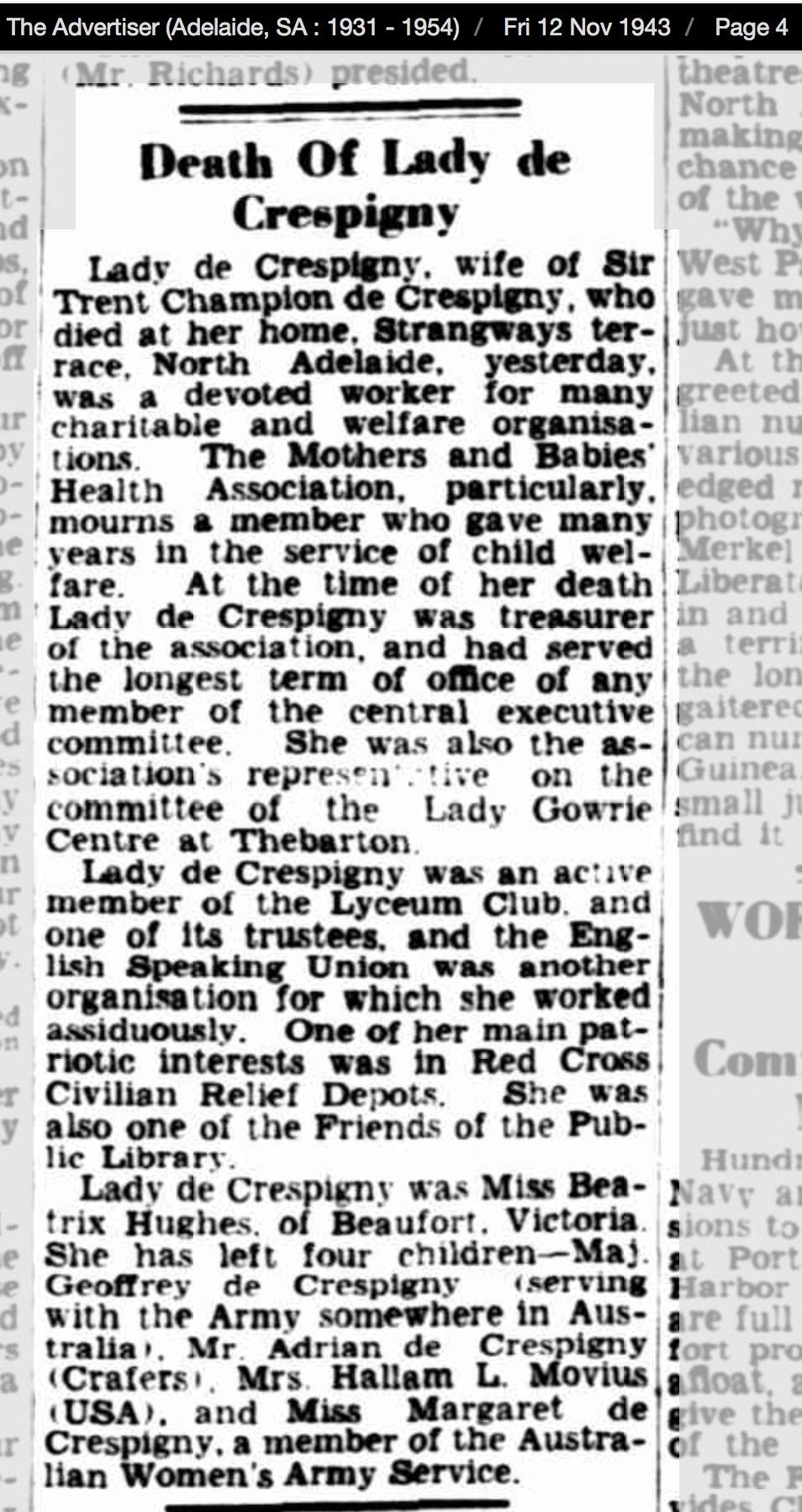 Obituary Beatrix de C The Advertiser