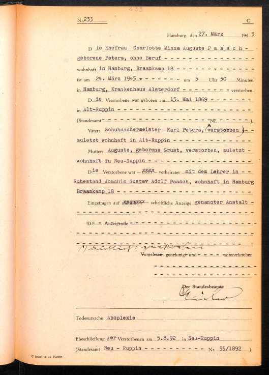 Paasch nee Peters Charlotte 1945 death