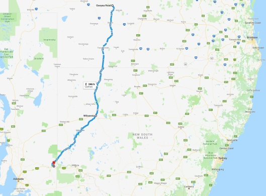 Paringa to Gooyea map
