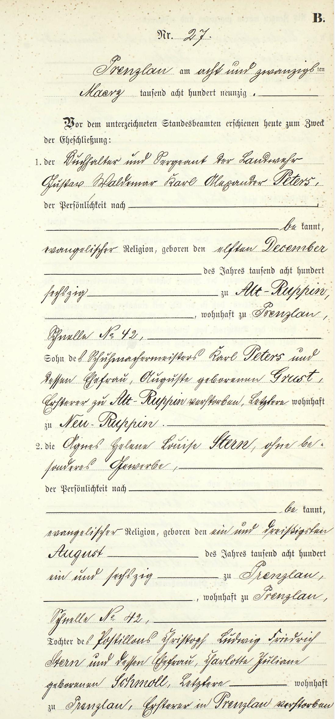Peters Gustav 1890 marriage