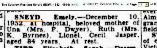 Sneyd Emily death notice