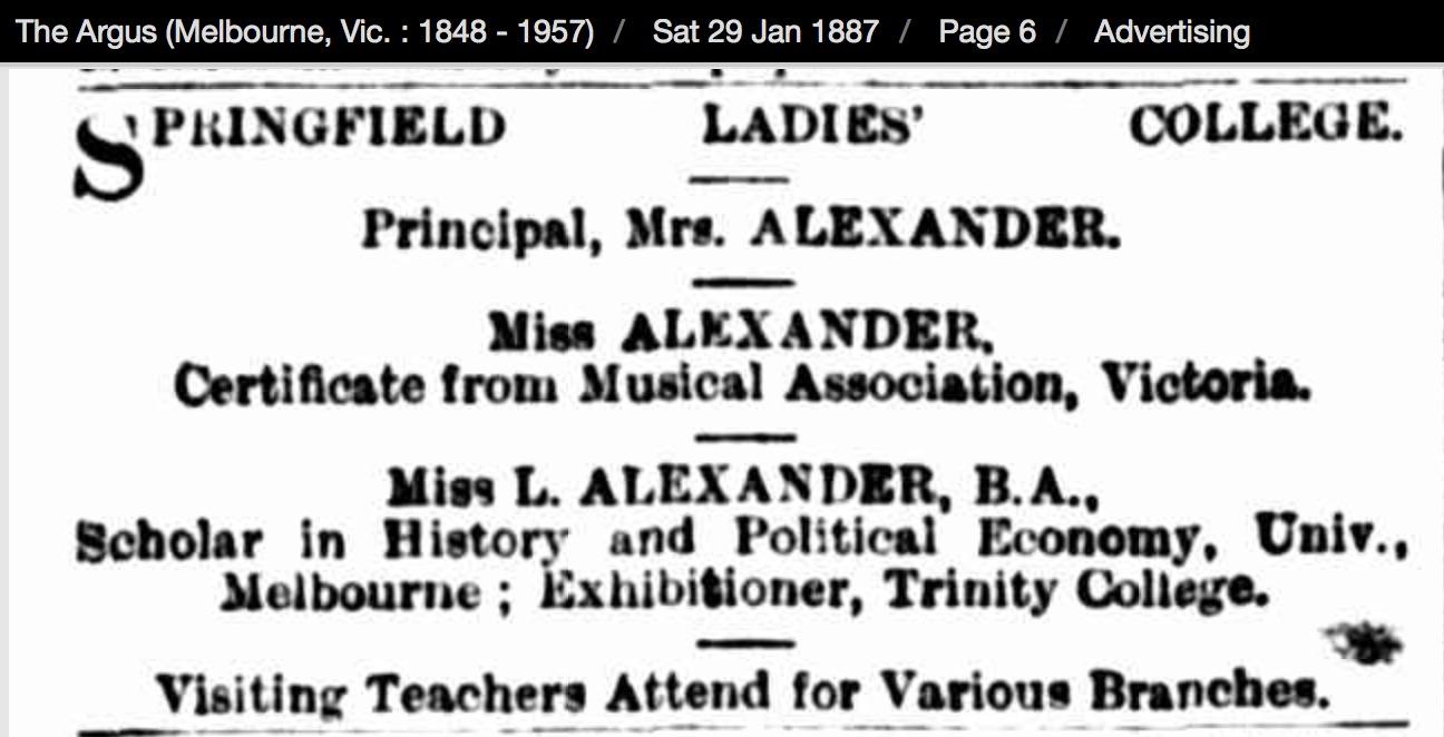 Springfield College January 1887