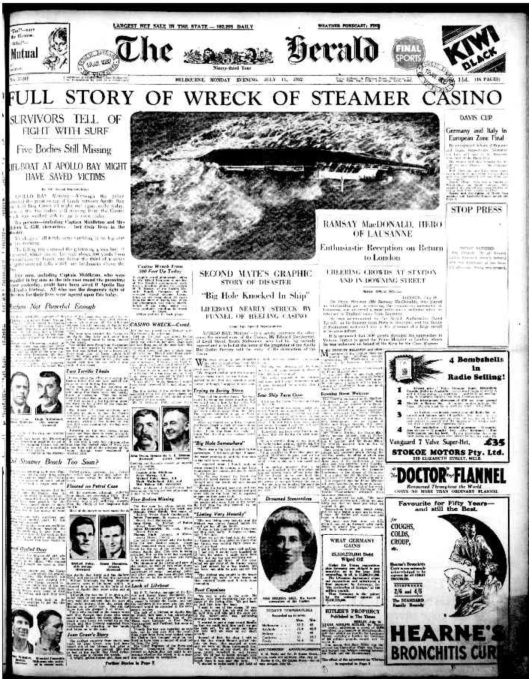 Melbourne Herald 1932 07 11 page 1