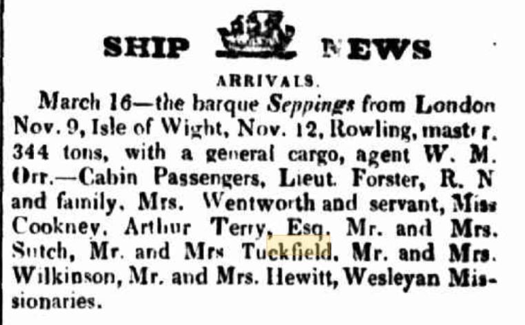 Seppings 1838 arrival Hobart Tuckfield