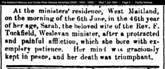 Tuckfield Sarah death Maitalnd Mercury 1854 06 07 pg 3