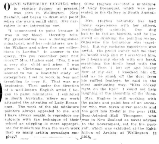 Hughes Olive 1923 article