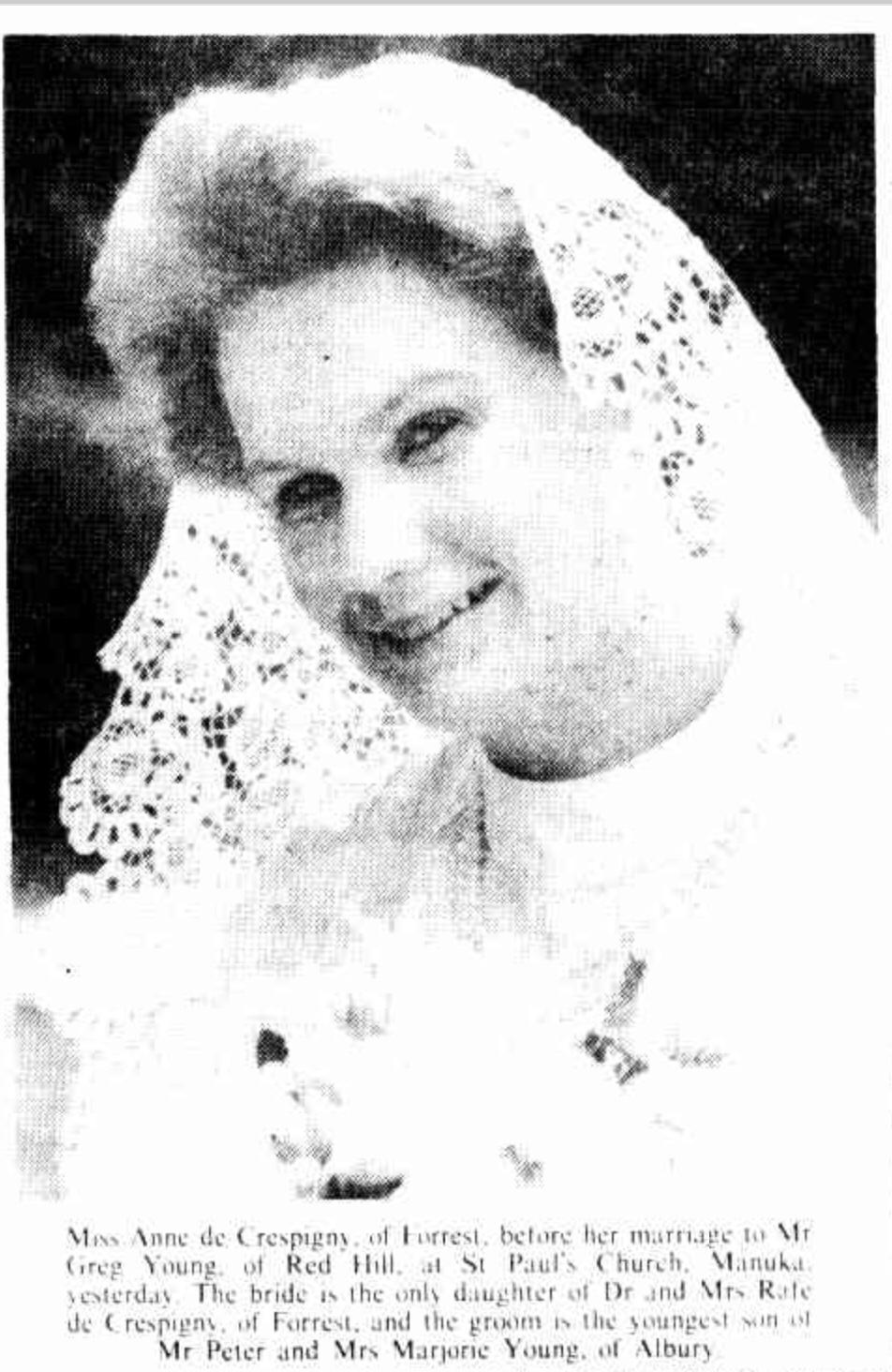 De Crespigny Anne wedding 1984