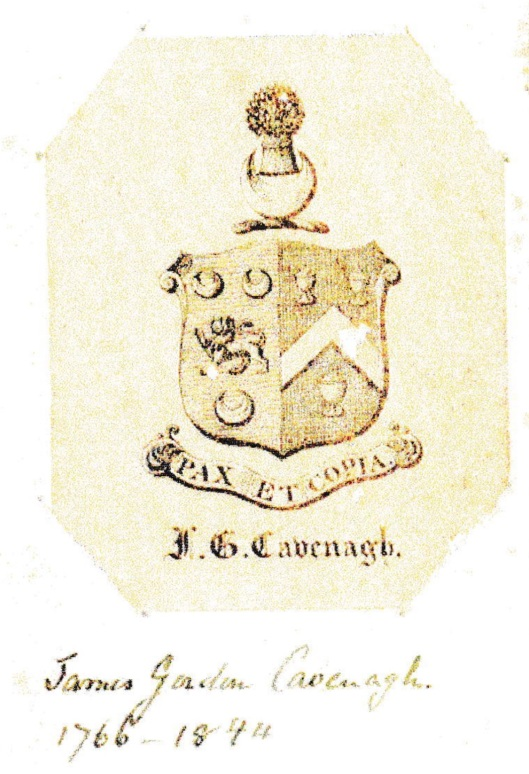 Bookplate of James Gordon Cavenagh