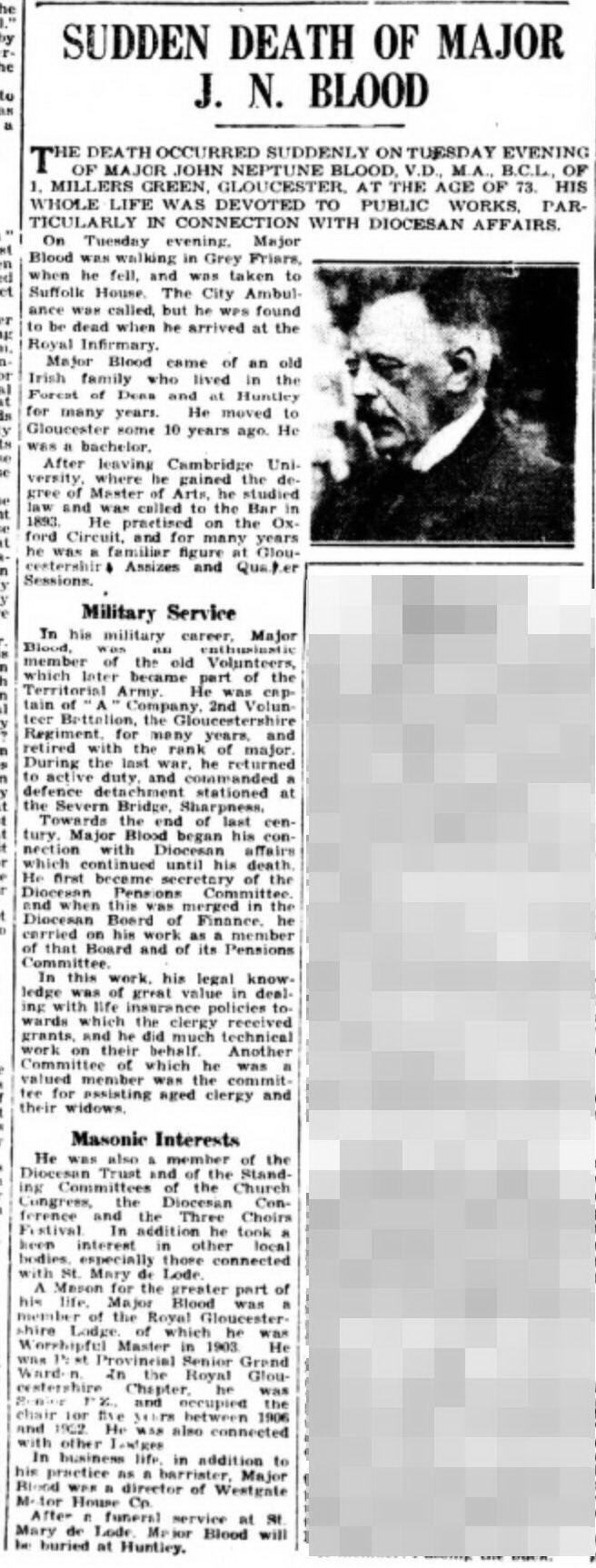 Blood John Neptune obituary Gloucester Citizen 30 September 1942 page 4