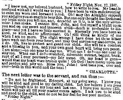 Letters from the Times report of the James Divorce