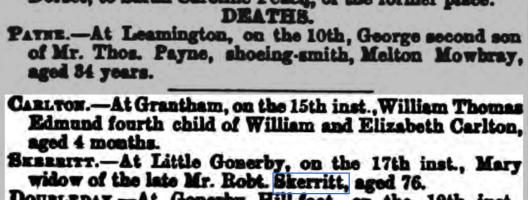 Skerritt Mary death 1879