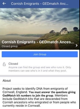 Cornish emigrants Facebook group