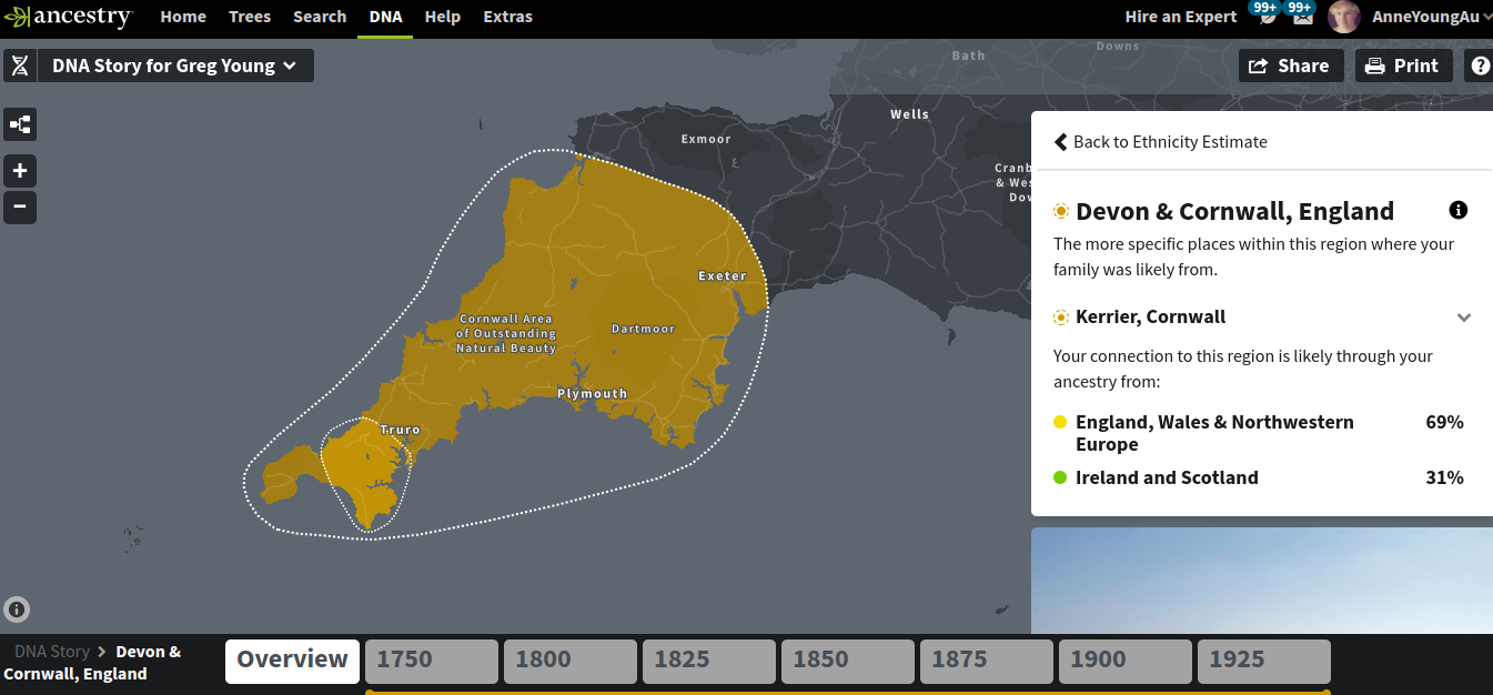 Greg's Cornish DNA at ancestry.com