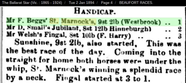 St Marnocks Beaufort Races 1894