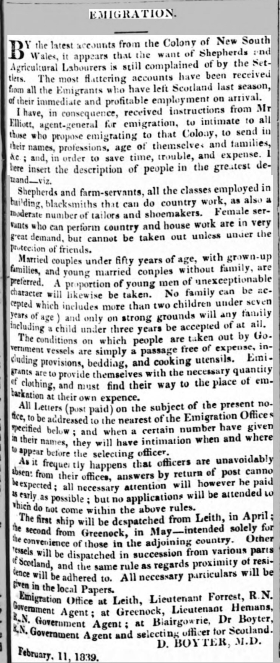 Emigration Inverness Courier 6 March 1839 page 1