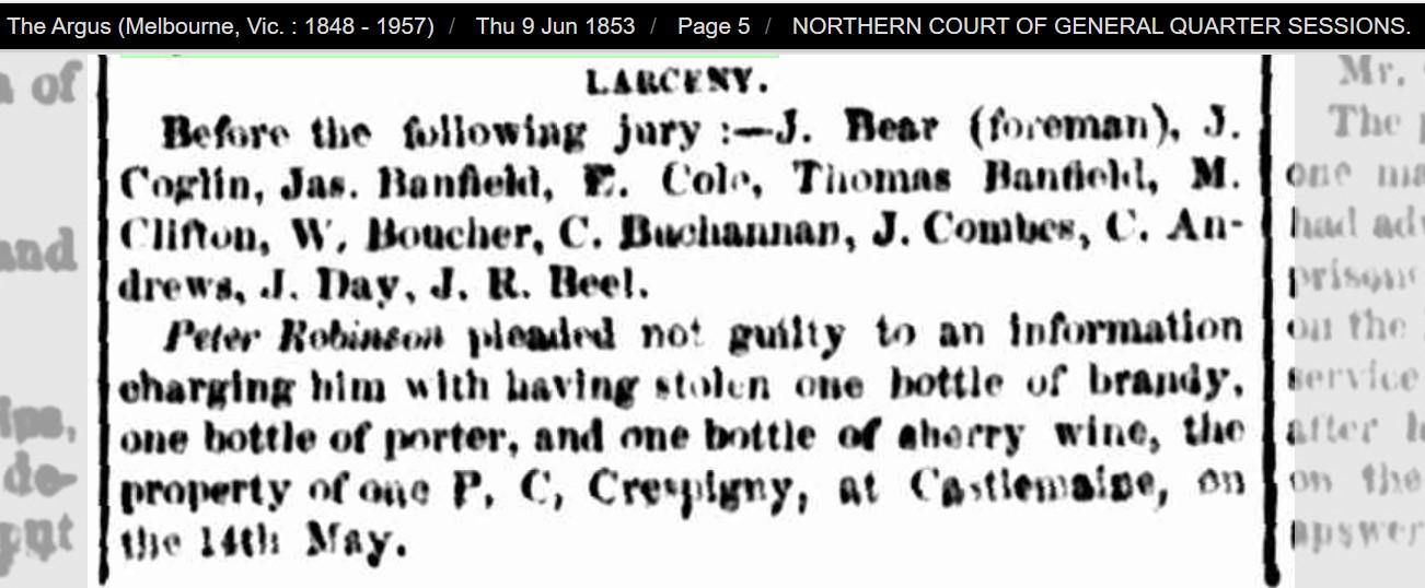 Crespigny Castlemaine larceny 1853