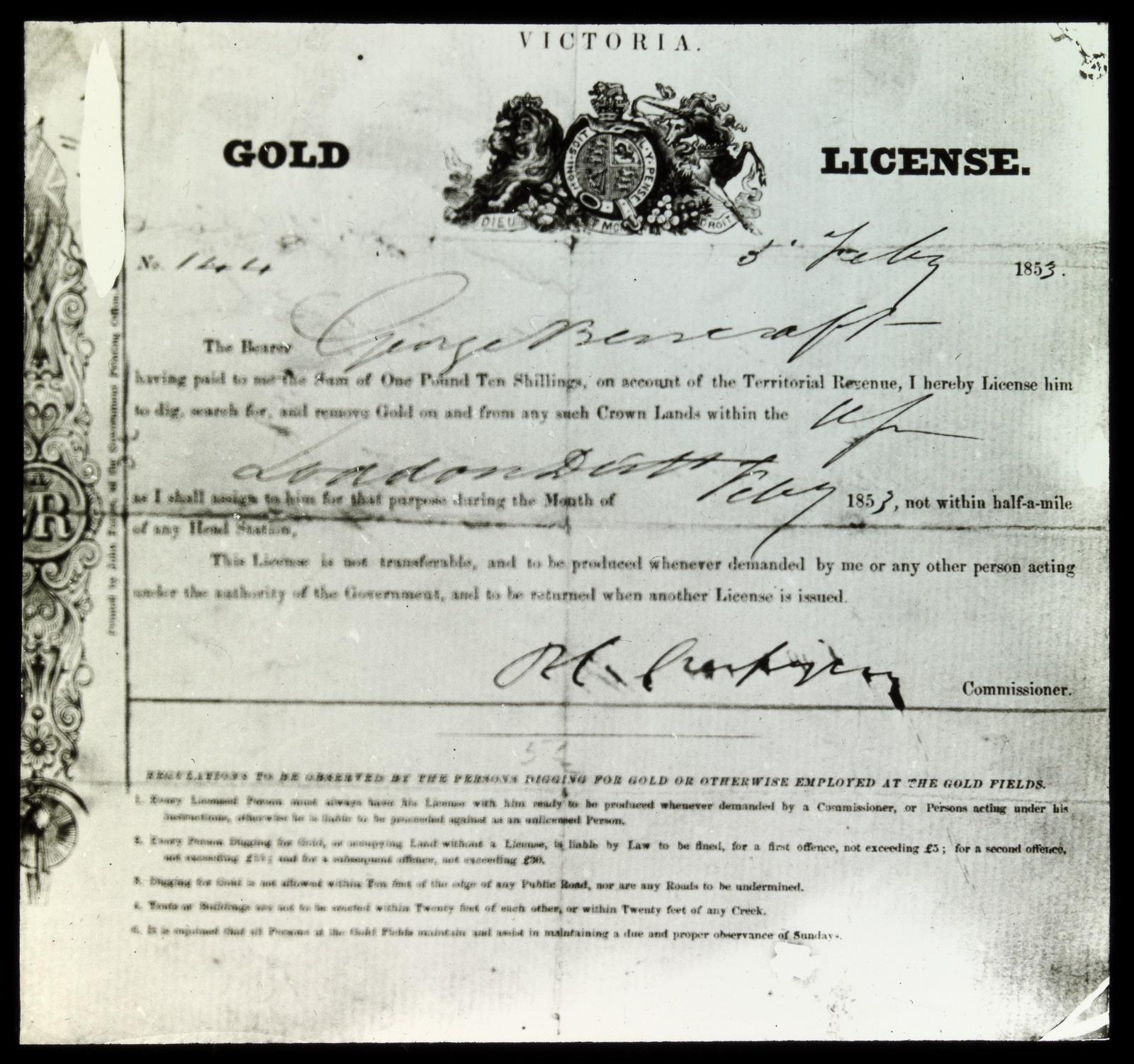 Crespigny license February 1853 Loddon