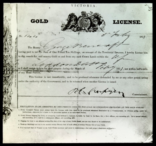 Crespigny license February 1853 Loddon
