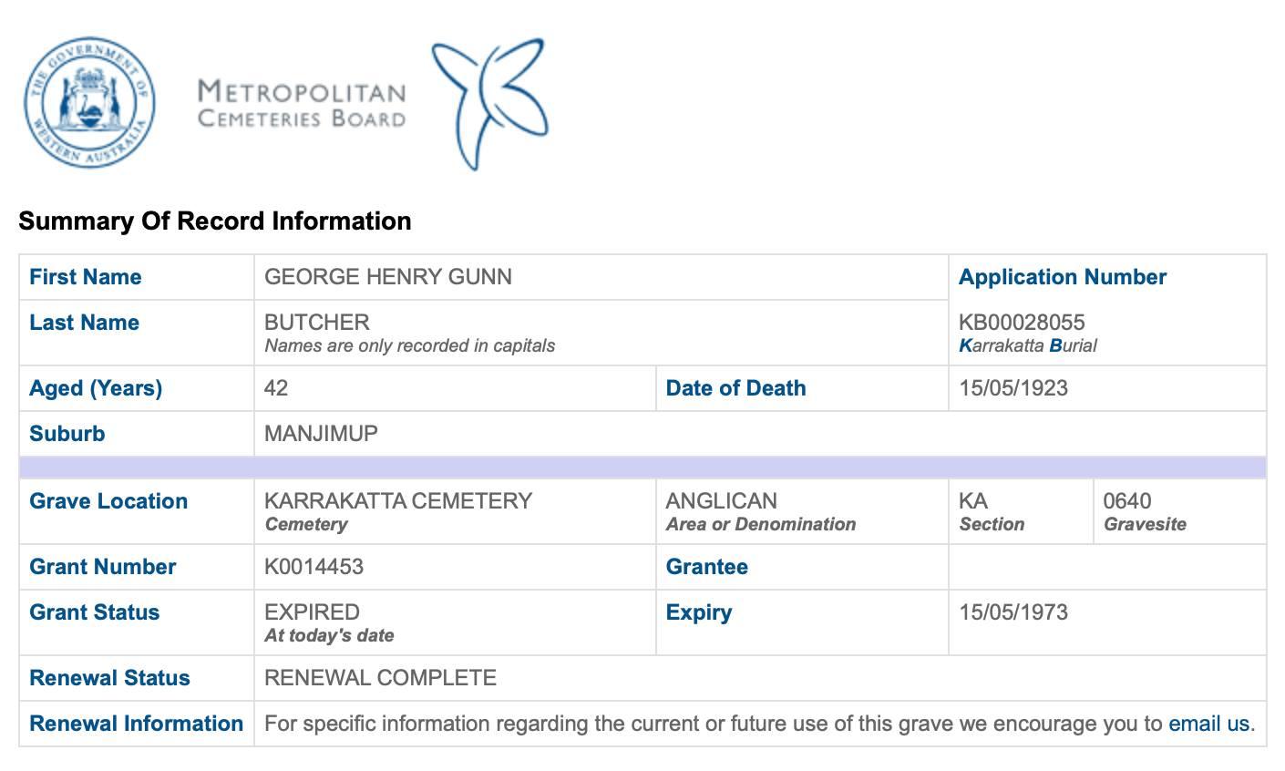 Karrakatta Butcher GHG grave details