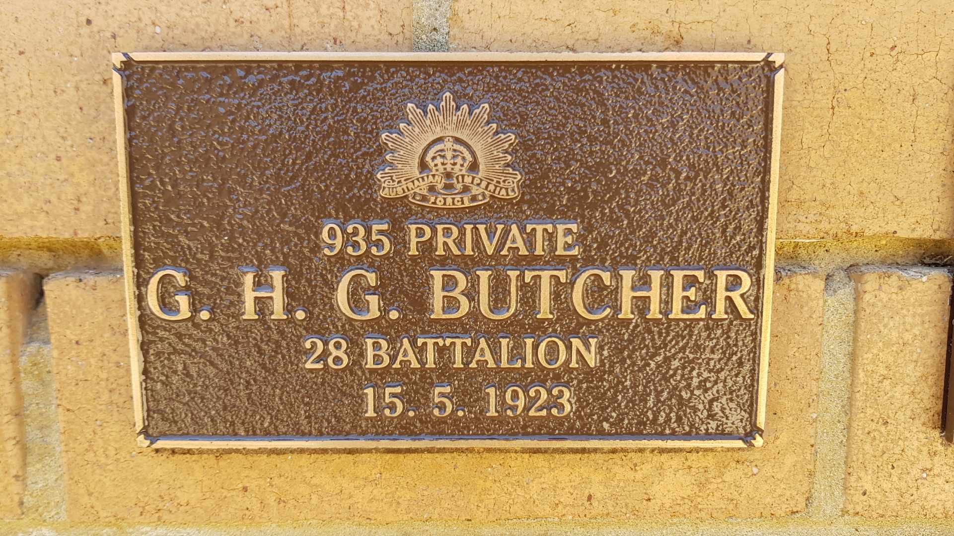 Butcher Plaque Perth Garden of Remembrance