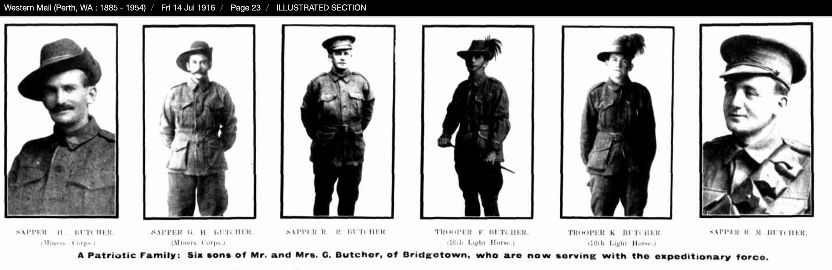 Butcher Western Mail illustrated six sons
