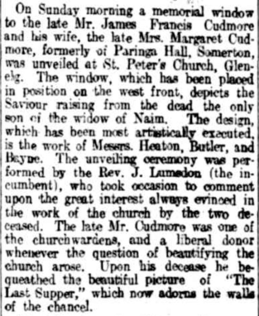Cudmore window unveiling 1915