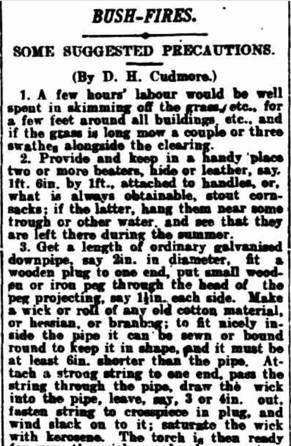 1905 bushfire precaution a