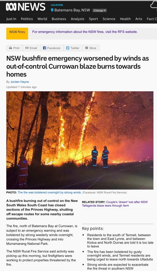 ABC news Currowan fire