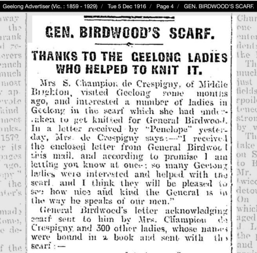 Birdwood letter Geelong Advertiser 1916 12 05 a