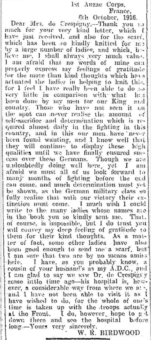 Birdwood letter Geelong Advertiser 1916 12 05 b