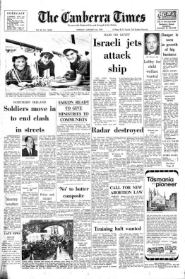 The Canberra Times 26 January 1970 front page