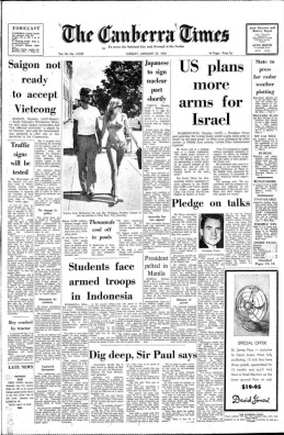 The Canberra Times 27 January 1970 front page