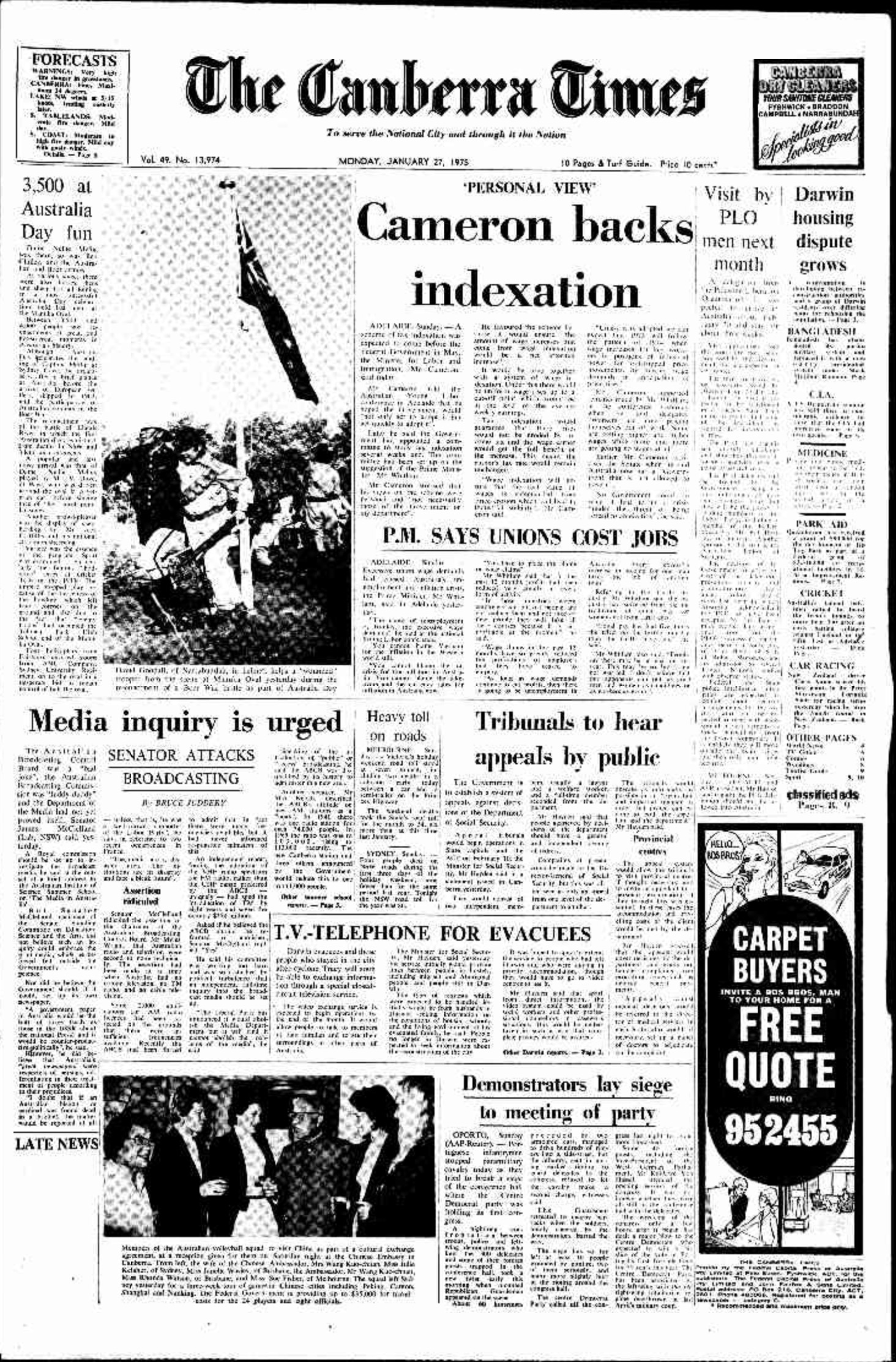 Canberra Times 1975 01 27 pg 1