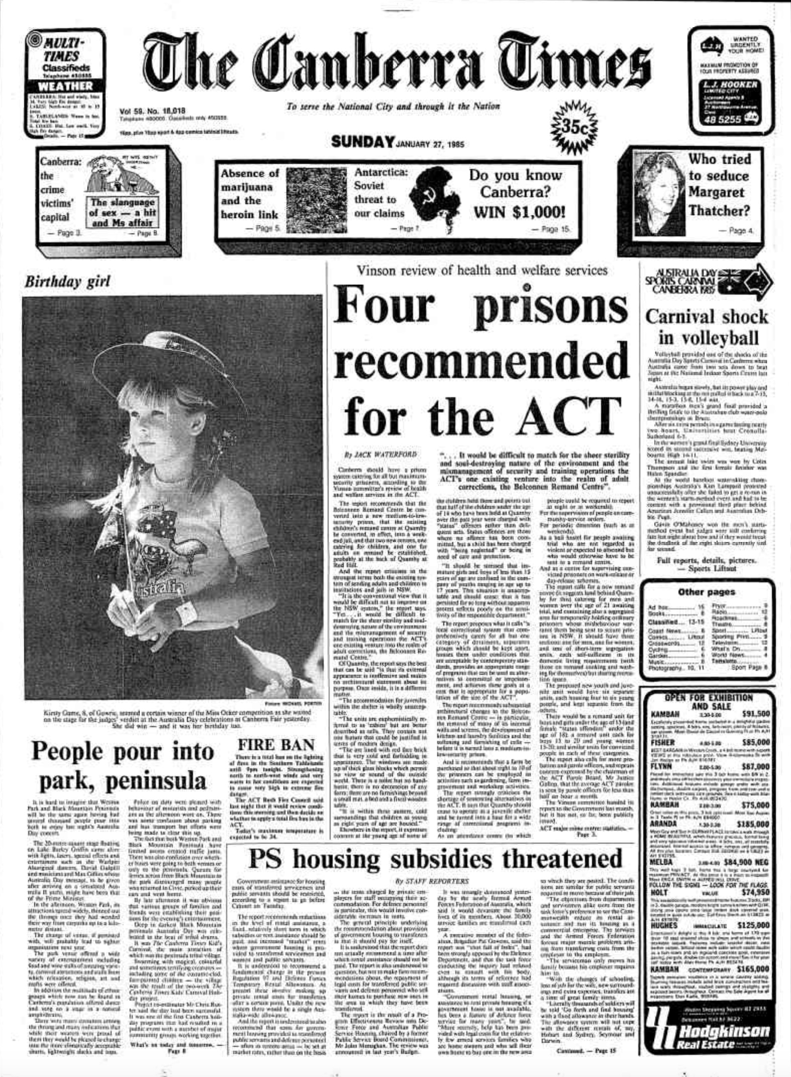 Canberra Times 1985 01 27 pg 1